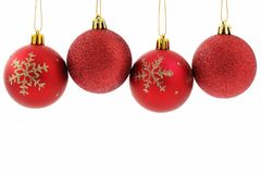Red baubles Christmas background. Red baubles isolated on white Christmas background stock photo
