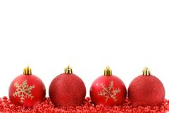 Red baubles Christmas background. Red baubles isolated on white Christmas background stock photos