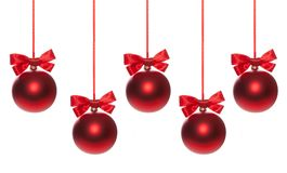 Red baubles on Christmas tree Stock Photography