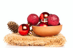 Red baubles with cone Stock Image