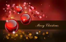 Red Baubles for Greetings Card Royalty Free Stock Photos