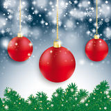 Red Baubles Light Fir Branch Blue Background Royalty Free Stock Photos