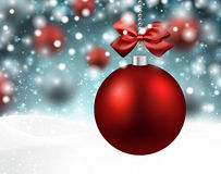 Red baubles over winter background. Royalty Free Stock Photography