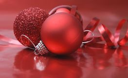 Red Baubles and Ribbon Royalty Free Stock Photos
