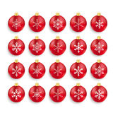 Red Baubles With Snowflakes Set Royalty Free Stock Photography