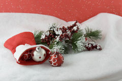 Red baubles from stocking Stock Images