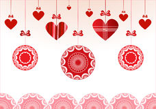 Red Baubles With Hearts Stock Photography