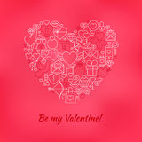 Red Be My Valentine Line Icons Set Heart Shape Stock Images