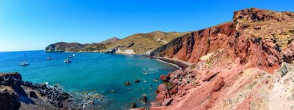 Red Beach, Akrotiri, Greece, Santorini-Thira- one of the most fa Stock Image