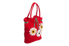 Red beach bag with flowers isolated Stock Photography