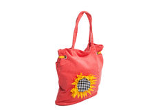 Red beach bag with sunflower isolated Royalty Free Stock Photos