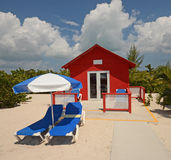 Red beach bungalow Stock Images