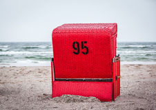 red beach chair Royalty Free Stock Image