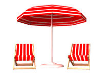 Red beach chair and umbrella Stock Photography