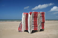 Red Beach Chairs Stock Photography