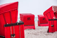 red beach chairs Royalty Free Stock Images