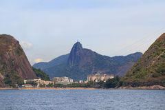 Red beach Corcovado with Christ the Redeemer, Urca, Rio de Janei Stock Image