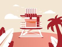 Red Beach Flat and Modern Illustration royalty free illustration