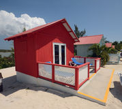 Red beach hut stock image
