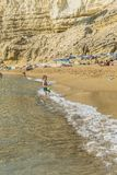 Matala , Red beach. Red Beach, near Matala, Crete, Greece , Europe . Nudist and hippie beach Stock Image