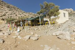 Matala , Red beach. Red Beach,  near Matala, Crete, Greece , Europe . Nudist and hippie beach. Bar on the beach Royalty Free Stock Images
