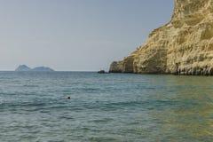 Matala , Red beach. Red Beach,  near Matala, Crete, Greece , Europe . Nudist and hippie beach Royalty Free Stock Image