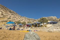 Matala , Red beach. Red Beach, near Matala, Crete, Greece , Europe . Nudist and hippie beach Royalty Free Stock Images