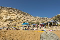 Matala , Red beach. Red Beach, near Matala, Crete, Greece , Europe . Nudist and hippie beach Royalty Free Stock Photo