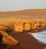 Red Beach, Peru. The beautiful red beach in the paracas nature reserve in peru, south america royalty free stock photography