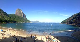 Red Beach in Rio. Red Beach and Sugarloaf in Urca district, Rio de Janeiro, Brazil Stock Photo
