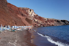 Red Beach Santorini Stock Image