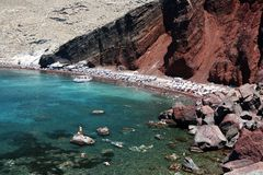 Red Beach, Santorini Stock Images
