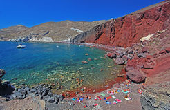 The Red Beach in Santorini Stock Images