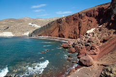 Red beach on Santorini island Stock Photography