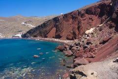 Red Beach Santorini Stock Photo