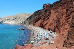 Red beach on Santorini island, Greece. Summer landscape, sea vie stock image