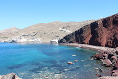 Red Beach, Santorini. One of the most important beaches of Santorini - Greece. Be characterized by red colored sand Stock Photo