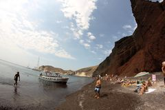 Red beach. In Santorini in September 2015 Royalty Free Stock Photography
