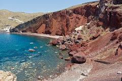 Red beach on Santorini Stock Image