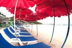 Red beach umbrella and deck chairs on the beach. Stock Photo