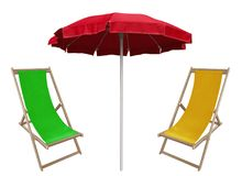 Beach umbrella and deckchairs. Red beach umbrella and deckchairs isolated on white Stock Photos