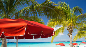 Red Beach Umbrellas Stock Photo