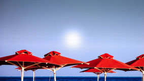 Red Beach Umbrellas Royalty Free Stock Photo