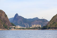 Red beach Urca Corcovado Christ the Redeemer, Rio de Janeiro Stock Photos