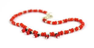 Red bead bracelet Royalty Free Stock Photos