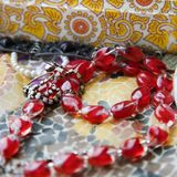 Red bead necklace. Royalty Free Stock Images