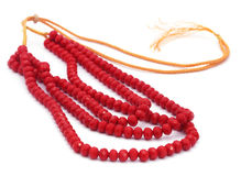 Red bead necklace Stock Photo