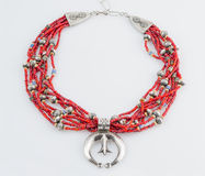 Red Bead and Silver Necklace. stock photo
