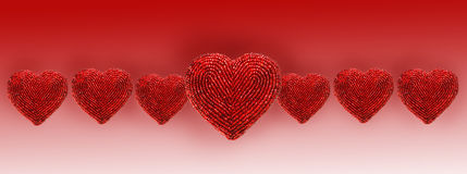 Red beaded hearts isolated against white Royalty Free Stock Photos