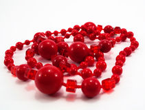 Red beads. On a white background Stock Image